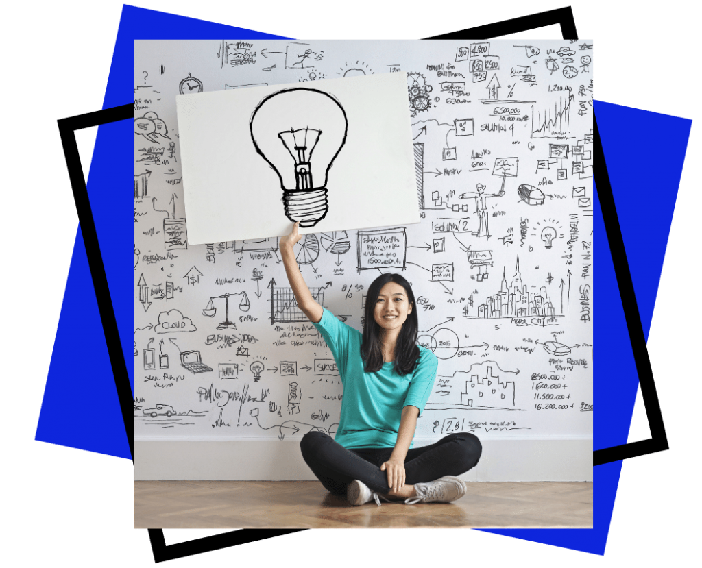 Team Development and Intelligences - Exceler8 - Image of a brunette lady holding a picture above her head of a black hand drawn light bulb